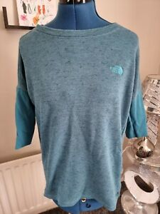 THE NORTH FACE PETROL BLUE 3/4 SLEEVE TOP WOMENS UK M
