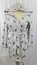 Cynthia Rowley Womens Robe Long Sleeve French Terry LARGE Vintage Pattern Deer
