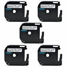 5 X hermano compatible mk-231 12mmx8m Cinta Para P-touch Pt-80 Pt-85 Pt-90 Pt-100