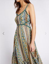 M&s per Una Brown Green Orange Swing Chiffon Midi Dress Size 14