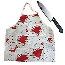 HALLOWEEN BLOODY KNIFE & APRON ZOMBIE CHEF BUTCHER BLOOD STAINED FANCY DRESS