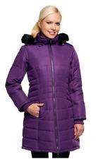 Susan Graver Puffer Coat w/ Removable Faux Fur Trimmed Hood, Orchid, XXS, $84