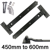 """10/"""" CRANKED HOOK AND /& BAND HINGES HEAVY DUTY STABLE GARAGE SHED BARN DOOR BLACK"""
