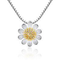 925 Sterling Silver Sunflower Daisy Flower Pendant Necklace For Women Girl Gift