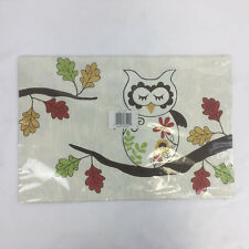 Set of 4 Placemats with Owls & Leaves New Reversible Flexible Plastic Fall