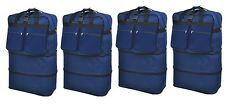 """4-Pack 40"""" Navy Rolling Wheeled Expandable Duffle Bag Spinner Suitcase Luggage"""