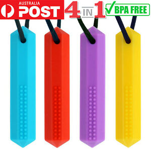 4PCS Panny & Mody Sensory Chew Necklace for Kids with Autism ADHD Chewy Oral Toy
