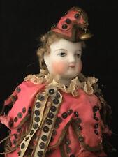 Poupée Marotte tête porcelaine Bouche Fermée Boîte Musique Sifflet Antique Doll