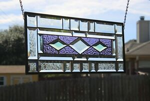 """Lavender & Sage  Beveled Stained Glass Window Panel-21 1/2"""" x 9 1/2"""""""