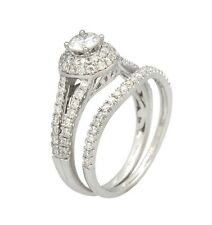 1ct Round Prong-Pave Set Diamond Wedding Anniversary Ring Set in 14K White Gold