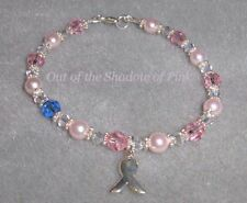 Breast Cancer Awareness Bracelet made with Swarovski Crystals/Pearls  .925 SS