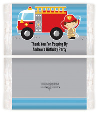 Future Firefighter Boy - Custom Birthday Party Popcorn Wrappers - Set of 12
