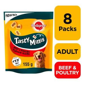 8 x 155g Pedigree Tasty Bites Minis Dog Treats Chewy Slices Beef & Poultry