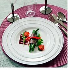 Disposable Plastic Plates 200 Luxury Silver Rimmed High Quality Party Tableware