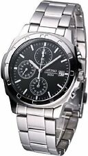 SEIKO SNDB35 SNDB35P1 MENS CHRONOGRAPH BLACK DIAL STEEL 50M WATCH