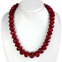 GENUINE ELEGANT PRECIOUS 800.00 CTS NATURAL FACETED RED RUBY BEADS NECKLACE
