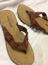 minnetonka Leather Beaded Bridal Sandals , Tribal Size 5