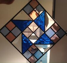 "Stained Glass Small Window Hanging Quilt Pattern Mostly Blue Black Edging 6""x6"""