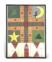 Handpainted American Folk Outsider Art Parcheesi Game Board Signed