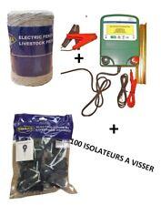 ELECTRIFICATEUR DE CLOTURE BATTERIE 12V + 250M de Corde + 100 ISOLATEURS