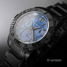 Swiss Made Invicta Reserve Chrono Black Stainless Steel Blue Dial New Mens Watch