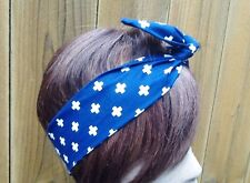Wire Headband Dolly Bow White Cross Bandanna Rockabilly Scarf  Rabbit Ears
