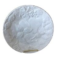 """Over and Back 8.25"""" Salad Plate White Embossed Fruit/Leaves Made in Portugal"""