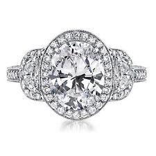 Oval Not Enhanced White Gold VVS1 Diamond Engagement Rings