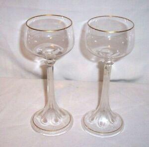"PAIR GORGEOUS VINTAGE 7 7/8 "" TALL HOLLOW STEM CRYSTAL WINE CRYSTAL WINE GLASSES"