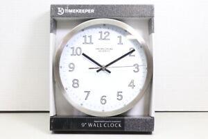 New Timekeeper 9'' Silver Metal Heirloom Quartz Wall Clock Sealed (LOC 42I)