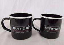 2 Auchentoshan Single Malt Scotch Whiskey Tin Metal Cups Mug Gray Orange Black E