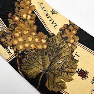 Vintage Robert Talbott Italian Silk Tie Wine Label Grapes Hand Sewn Necktie
