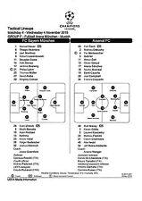 Teamsheet-BAYERN MUNICH V Arsenal 2015/16 UEFA Champions League