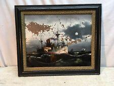 VINTAGE 1918-20 WW1 NAVY SHIP U.S.S. NEW YORK BATTLESHIP Reverse Oil Paint Frame