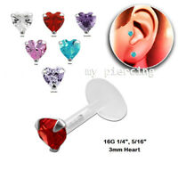 "16G 1/4""- 5/16"" Bio Flex Push-In 925 Silver Prong Set 3mm Heart CZ Labret Tragus"