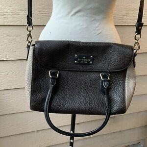 Kate Spade Brown Taupe Pebbled Satchel Purse Handbag Casual Shoulder Women
