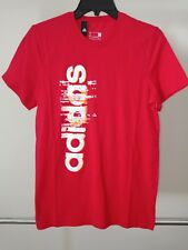 adidas Men's Essential Linear T-Shirt/Crew Tennis/Training/Gym/Runni ng Red Small