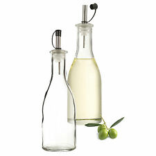 2 x OIL VINEGAR BOTTLE CLEAR GLASS CRUET LID DRESSING SAUCE DISPENSER 300 ML