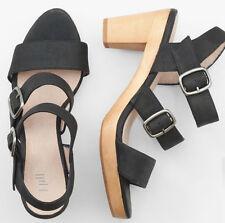 J.Jill Triple Strap Black Wooden Heel Sandal Leather Buckle Ankle Slingback 7
