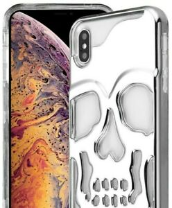 """For iPhone XS Max (6.5"""") Lucid Hybrid Hard Armor Case Cover Silver Plating Skull"""