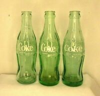Vintage Coca Cola Green Glass Soda Empty Bottles 6.5 Oz. Lot of 3 Advertising
