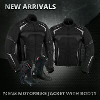 Mens Waterproof Motorbike Motorcycle Textile Jacket Coat Leather Long Shoes Boot