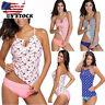 Women Tankini Bikini Set Push up Padded Swimsuit Bathing Suit Swimwear Plus Size