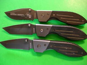 NTSA LOT OF 3  ASSORTED STYLE KABAR LINER LOCK POCKET KNIVES 1-3072 & 2-3074