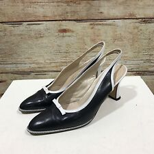 KURT GEIGER Navy Black White Sling Back Bow Detail Court Shoes SIZE 5 38 12124