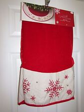 "Snowflake Red Velour Christmas Tree Skirt 48"" Embroidered and Beaded"
