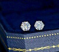 3Ct Round Cut VVS1 Diamond Solitaire Stud Women's Earrings 14k White Gold Finish