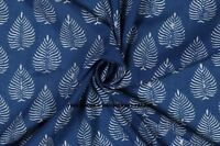 Indigo Blue Sanganeri Running Hand Block Print Pure Cotton Fabric By Yard Indian