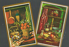 Playing Swap Cards  2 VINT  FRUITS ON THE BENCH IN  AN  EDWARDIAN  KITCHEN W133