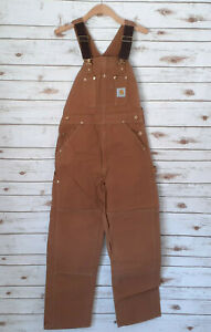 Vintage Carhartt Duck Bib Overalls 32x32 USA Union Made Double Knee Unlined